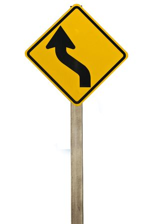 bend: A road sign indicating a bend in the road. Isolated on white. Stock Photo