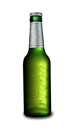 An ice cold beer bottle isolated on white. With a drop shadow Stock Photo