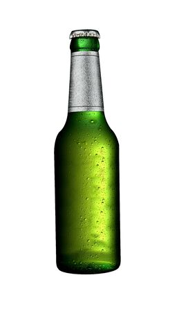 An ice cold beer bottle isolated on white.