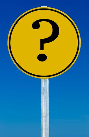 A road sign with an question mark on it isolated on a blue sky. Stock Photo