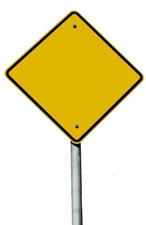 A blank road sign isolated on white
