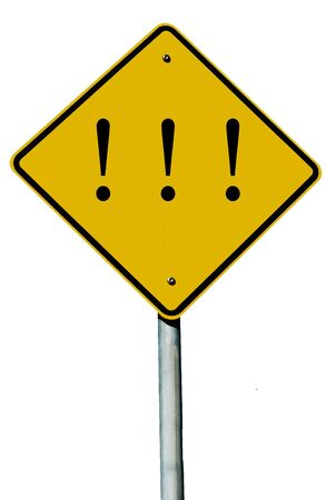 A road sign with an exclamation mark on it isolated on white.