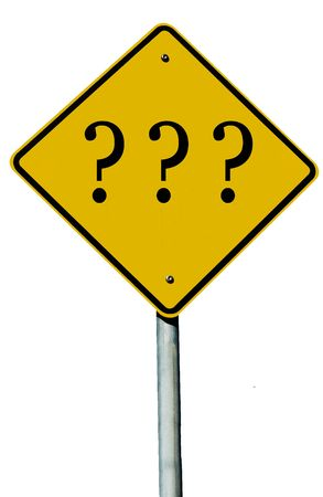 A road sign with an question mark on it isolated on white. Stock Photo
