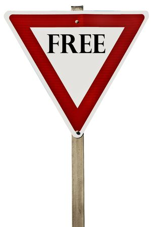 A Free road sign isolated on white.