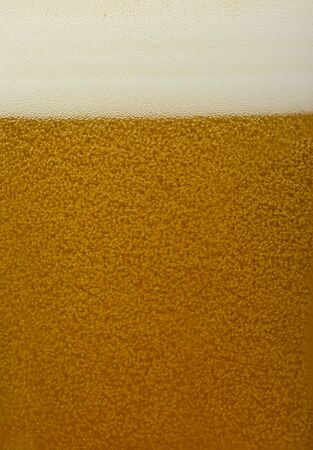 An ice cold beer close up with bubbles. On top is froth. photo