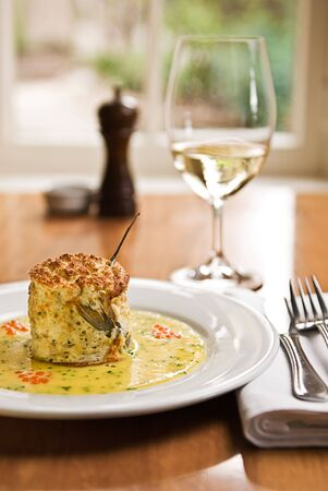 A beautiful fish souffle served in a restaurant. Stock Photo