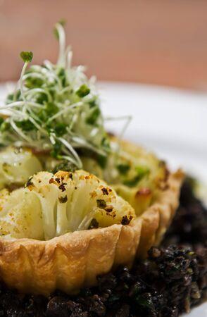haloumi: Cauliflower & Haloumi tart with a Swiss brown mushroom & herb duxelle