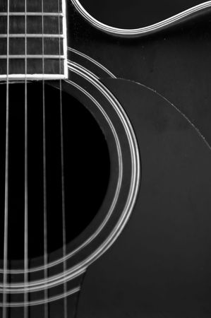 Close up of a guitar showing shapes and strings. photo