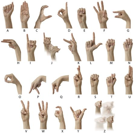 Finger Spelling the Alphabet in American Sign Language (ASL) photo