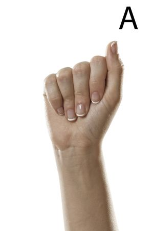 asl sign: Finger Spelling the Alphabet  Letter A  in American Sign Language  ASL  Stock Photo