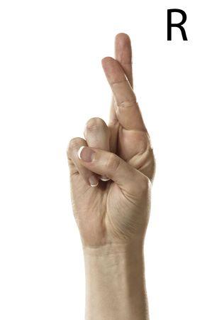 asl sign: Finger Spelling the Alphabet  Letter R  in American Sign Language  ASL  Stock Photo