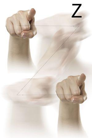 comunicacion no verbal: Dedo ortografía el alfabeto en lenguaje de signos estadounidense (ASL)