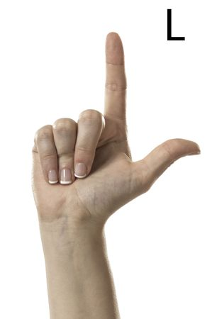Finger Spelling the Alphabet  Letter L  in American Sign Language  ASL  Stock Photo