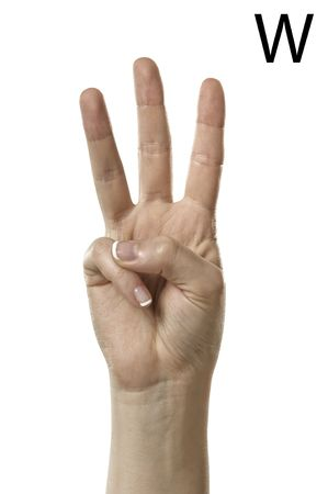 asl: Finger Spelling the The Letter W in American Sign Language  ASL