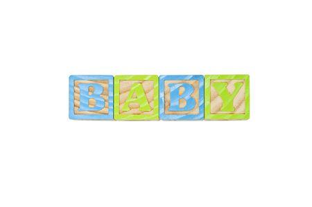 Childrens Alphabet Blocks spelling the word Baby photo