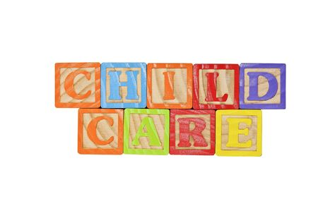 Childrens Alphabet Blocks spelling the words Child Care