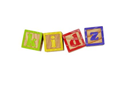 Childrens Alphabet Blocks spelling the word Kidz photo