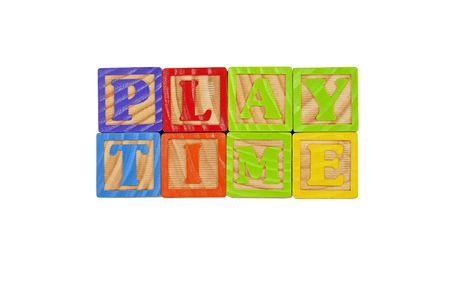 Childrens Alphabet Blocks spelling the words Play Time Stock Photo - 7280088