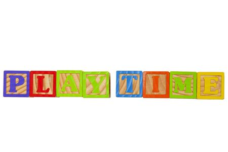 Childrens Alphabet Blocks spelling the words Play Time Stock Photo - 7280089