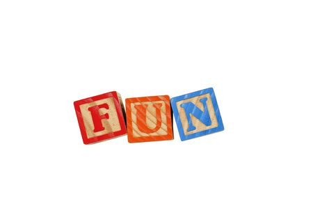 Childrens Alphabet Blocks spelling the word Fun Stock Photo