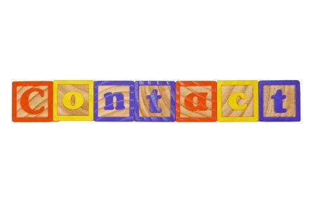 Childrens Alphabet Blocks spelling the word Contact photo