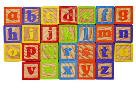 Childrens Alphabet Blocks of the whole alphabet in Lower case letters Stock Photo