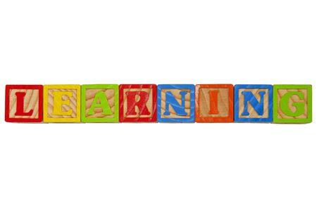Childrens Alphabet Blocks spelling the word Learning