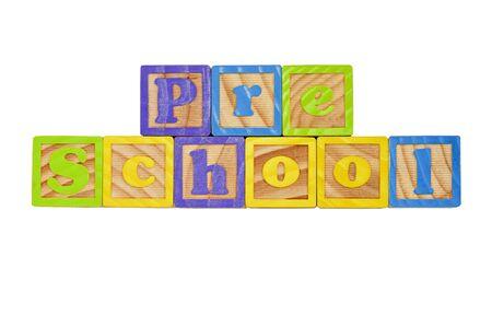 Childrens Alphabet Blocks spelling the words Pre School Stock Photo