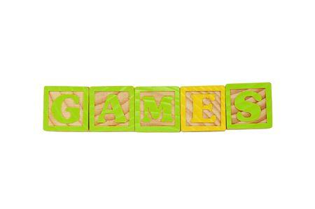 Childrens Alphabet Blocks spelling the word Games Stock Photo - 7280075