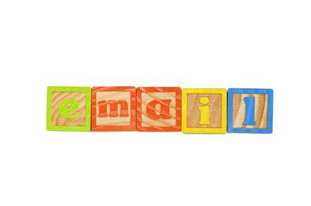 Childrens Alphabet Blocks spelling the word Email