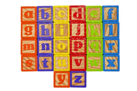 spelling: Childrens Alphabet Blocks of the whole alphabet in Lower case letters Stock Photo