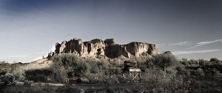 A Wild West scene of Superstion Mountain in Arizona.  photo