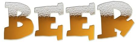 brew beer: La cerveza de la palabra escrita en la cerveza. Hermoso color �mbar con cabeza encantadora! Foto de archivo