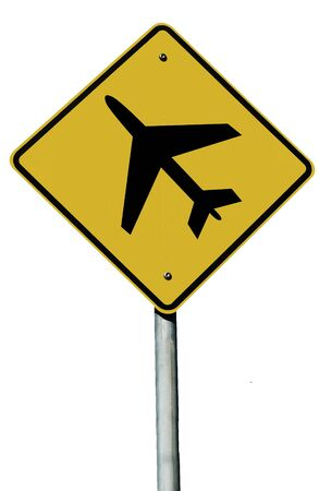 Aeroplane sign isolated on a white background