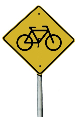 Bicycle sign isolated on a white background Stock Photo