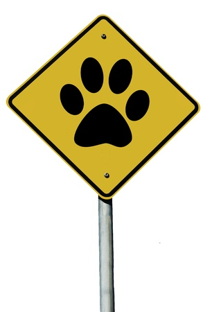 Paw Print sign isolated on a plain white background.