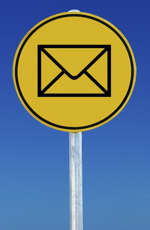 An envelope sign isolated on a blue graduated sky. Stock Photo - 9138630