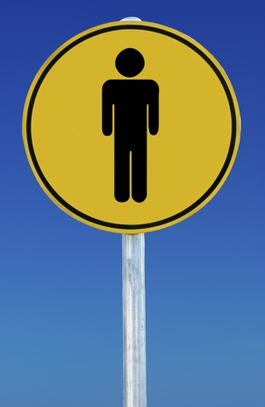 A male sign isolated on a blue graduated sky. photo