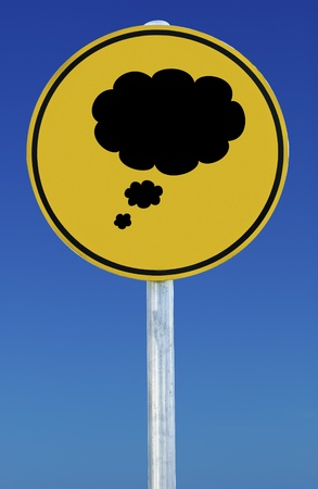 A thought sign isolated on a blue graduated sky. photo