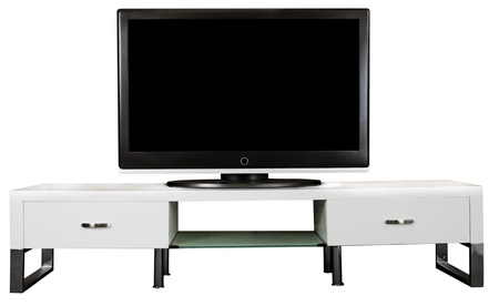 tv stand: A modern white TV Cabinet with a large LCD TV on it.