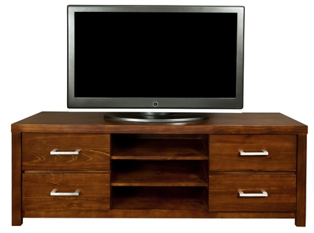 journal t�l�vis�: Un classique brun TV meuble en bois avec un grand t�l�viseur LCD sur elle.