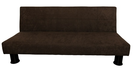 A brown suede Futon isolated on white. Stock Photo