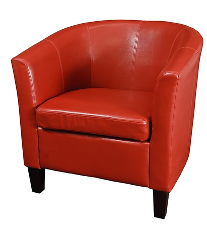 Bright Red leather armchair isolated on a white background photo