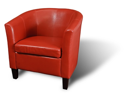 Bright Red leather Armchair isolated on white with a drop shadow. Stock Photo - 9138942