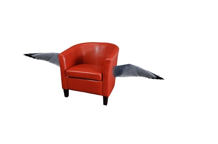 Red leather armchair with wings isolated on white Stock Photo - 9138973