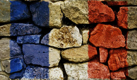 The French Flag painted on to a stone wall. Stock Photo - 9257656