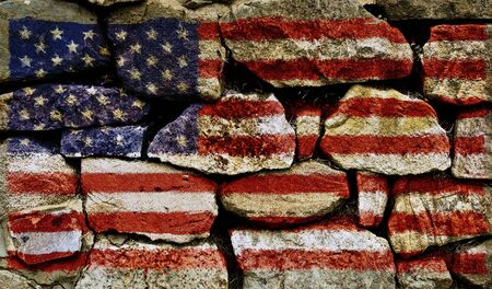 The American Flag painted on to a stone wall. Stock Photo - 9257660