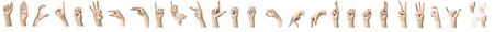 asl: The ASL Alphabet spelt out with a white females hand. Stock Photo