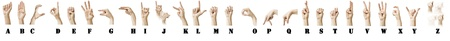 The ASL Alphabet spelt out with a white females hand. Labels are added. Stock Photo - 9404918