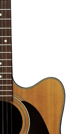 Acoustic guitar isolated on a white background. Crop includes body and neck. Stock Photo - 9427090